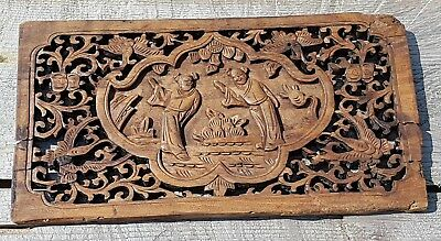 Antique intricate Hand Carved Chinese Asian Wood Panel FREE SHIPPING
