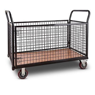 Warehouse Trolley Industrial Hand Cart Wood Base Steel Frame Cage 500kg Black