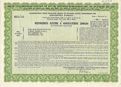 1941, Westinghouse Electric & Manufacturing Company Warrant Stock Certificate