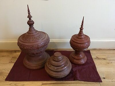 3 Antique Handmade offering vessels from Burma & Thai Silk table top textile