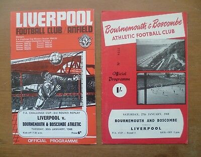 Bournemouth v Liverpool, 1967/68 - FA Cup 3rd Rd Programmes x2 (Both Games).