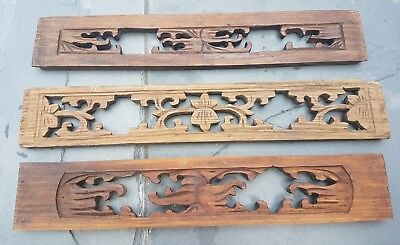 LOT of 3 antique intricate Hand Carved Chinese Asian Wood Panels FREE SHIPPING