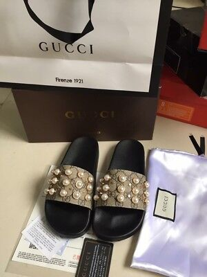 927db57e2df WOMENS GUCCI GG Supreme Slides With Pearls Size US 8 -  300.00 ...