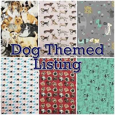 Dogs Canine Puppy Patterns Pet Themed 100% Cotton Patchwork Craft Fabric
