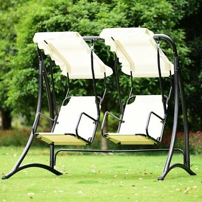 2 Person Hanging Canopy Hammock Swing Chairs Porch Seats Outdoor Garden  Backyard