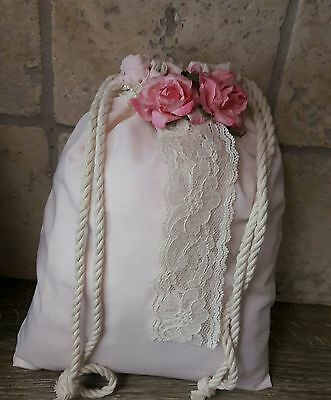 Rustic pink & ivory dollar dance money bag, boho, hippie, CLEARANCE WAS 12.99