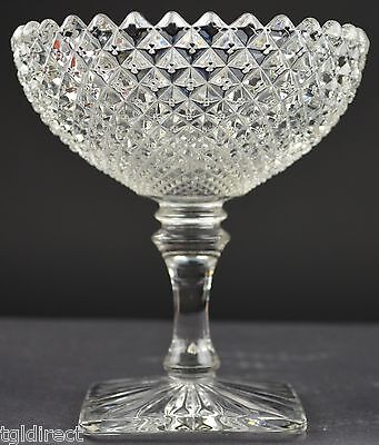 """Vintage Westmoreland Glass English Hobnail Pattern Round Compote 5"""" Tall Crystal"""