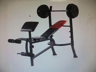 Weight Bench Set Weider Pro With 80lb Weights Lifting Press Bar