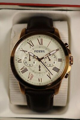 70cfd684a FOSSIL Grant Chronograph Eggshell Dial Brown Leather Men's Watch FS4991 NOS