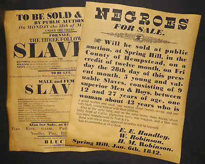 Slave Auction Posters, Set of 2, 1829 & 1842 repro, sale, slavery, wanted