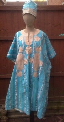 c048d7365046 Vintage African robe with Hat, turquoise blue and white robe decoration