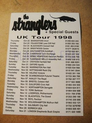 The Stranglers - Vintage A5 Flyer - From Uk Tour 1998