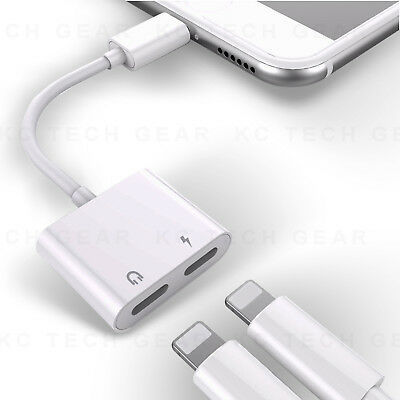 Dual Lightning Adapter iPhone 2 in 1 Audio Cable Charge  Headphone Splitter Cord