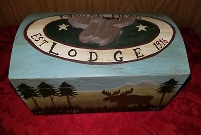 Moose head Lodge Hand Painted Wooden Box