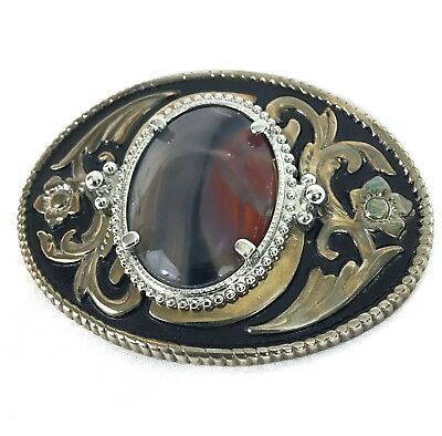 Western Natural Stone Gold Tone Belt Buckle -Cowboy Montana Agate Stone