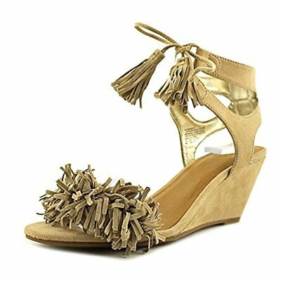 126afb0cd2 MATERIAL GIRL HANIYA Fringe Wedge Sandals Natural 7.5M - $21.42 | PicClick