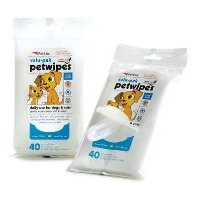 Eco Pet Wipes Dogs Cats Daily Use Cleans Face Ears Vanilla & Coconut Scented