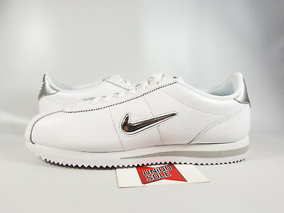 low priced 7b617 1e28e NIKE CORTEZ BASIC JEWEL PACK WHITE SILVER CHROME 833238-101 sz 11.5 FORREST  GUMP