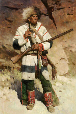 Native American Indian Man Chief Warrior Male Soldier Rifle Battle Oil Painting