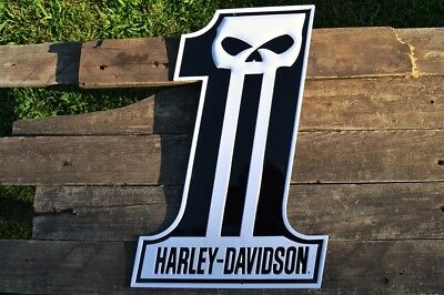 Harley Davidson Willie G Skull #1 Logo Embossed Tin Metal Sign - Bar and Shield