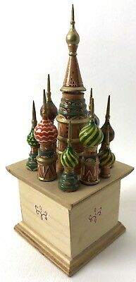 Russian Wooden Keepsake Box St Basil's Cathedral Painted Pointed Buildings 7""