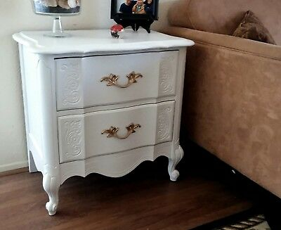White French Provincial End Table, Nightstand, 2 Drawer,  Broyhill