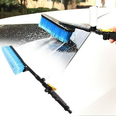 Car Wash Brush Water Spray Cleaning Tool Soft Bristle Long-handled Duster V3J1