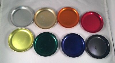 Vintage Rainbow Colored Aluminum Coasters by Briggs Shaffner - Set of 8