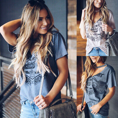 Hot Womens V Neck Loose Tops Blouse Ladies Short Sleeve Summer Casual T-Shirt US