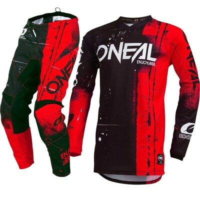 NEW Oneal 2019 Youth MX Element Shred Red Jersey Pants Kids Motocross Gear Set