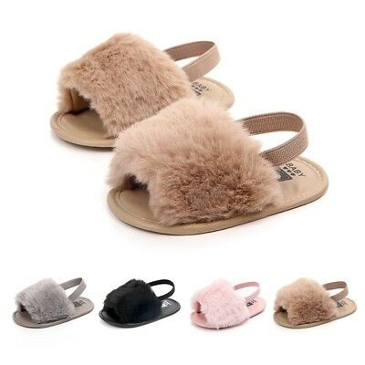 Toddler Baby Soft Sole Shoe Kids Girls Fur Fluffy Plush Sandal Anti-slip Slipper