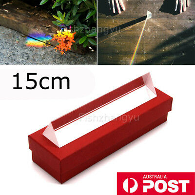 NEW 15cm Optical Glass Triple Triangular Prism Physics Refractor Light Spectrum