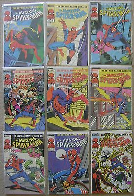 OFFICIAL MARVEL INDEX AMAZING SPIDER-MAN #1-9 COPPER AGE 1985 VF to NM COMPLETE