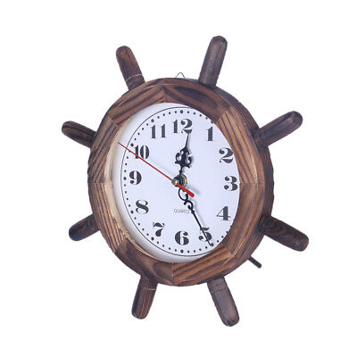 Wooden Steering Wheel Shaped Table/Desk Clock for Home Bar Pub Decoration