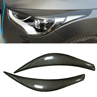 1 pair Carbon Fiber Headlight Eyebrows Eyelid Trim For Hyundai Veloster 2011-17