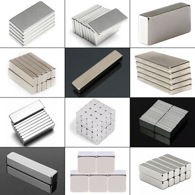 100Pcs Magnets Blocks Rare Earth NdFeB Neodymium Super Strong Magnet N45 N50 N52
