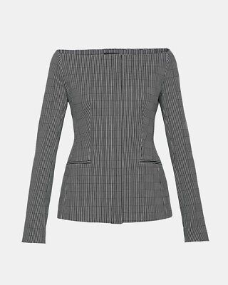 759567d2df6e45 THEORY OFF-THE-SHOULDER GRAPHIC Check Jacket Size 12, NWT - $325.00 ...
