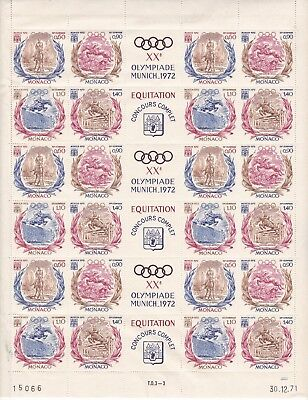 ROW66) Monaco 1972 Olympics Equestrian Event complete sheet of six sets
