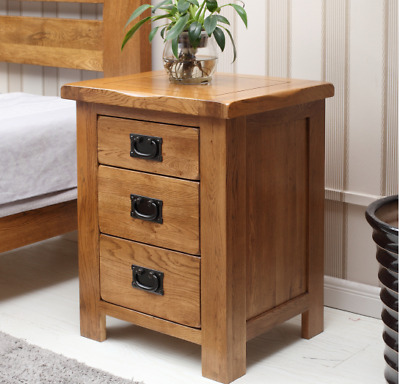 Solid 3 Drawer Wiltshire Oak Bed Side Cabinet Letter Telephone Lamp Table Drawer