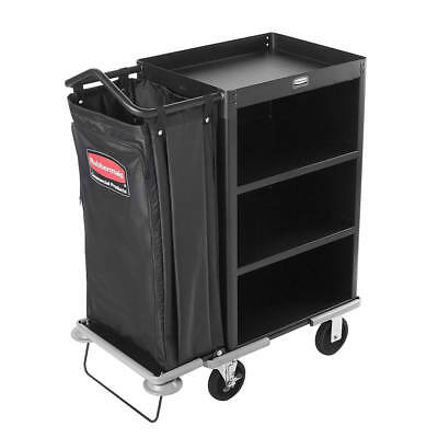 Rubbermaid 9T61 Deluxe Compact Metal Housekeeping Cart Black (FG9T6100BLA)