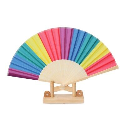 Rainbow Hand Held Folding Fan Dance Fan For Wedding Themed Parties Decoration