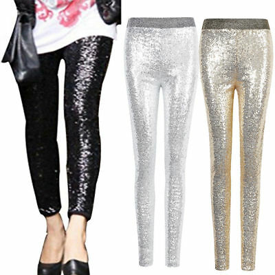 Women Stretchy Sequins Skinny Leggings Pants Glitter Metallic Slim Trouser Sport