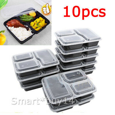 NEW 10X Microwave 3 Compartments Reusable Lunch Box Bento Food Storage Container