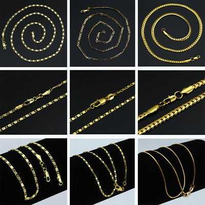 Men's 18K Gold Plated Snake Chain Figaro Link Choker Necklace Jewelry 16-30inch