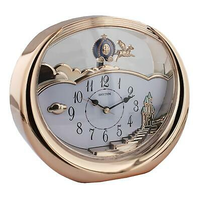 Rhythm Plastic Rose Gold Mantel Clock w Flying Horse Pendulum
