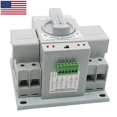 Automatic Transfer Switch Dual Power 2P 63A 220V 150×138×115mm Toggle Switch USA