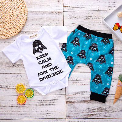 Newborn Baby Boys Star Wars Romper Tops Bodysuit Long Pants Outfits Clothes AU