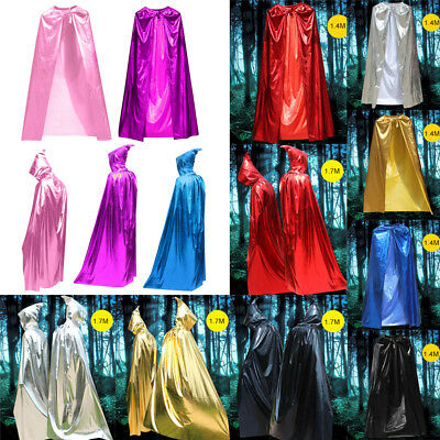 1.7/1.4M Halloween Long Cloak Cape Hooded Robe Vampire Witch  Adult&Kids Costume