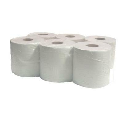 6 Pack Office Workshop White Hand Towels Rolls 2 Ply Centre Feed Rolls Wipes
