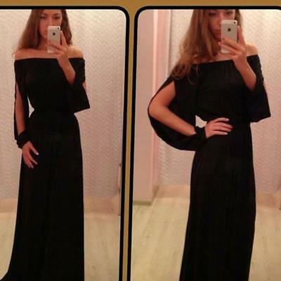 Black Women Long Sleeve Dress Solid Off Shoulder Wedding Party Dresses Z